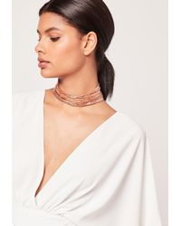 Missguided | Multicolor Layered Multi Chain Choker Necklace Rose Gold | Lyst