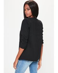Missguided - Black Crepe Gathered Sleeve Button Blazer - Lyst
