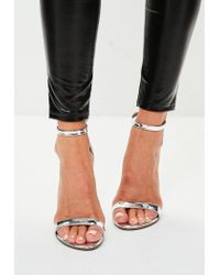 Missguided   Metallic Silver Block Heel Barely There Sandal   Lyst