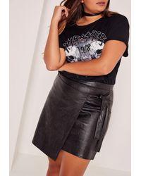 Missguided - Black Plus Size Tie Waist Faux Leather Mini Skirt - Lyst