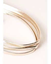 Missguided - Metallic Four Layer Faux Leather Choker Necklace Gold - Lyst