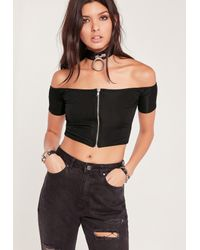 Missguided - Zip Front Ribbed Bardot Crop Top Black - Lyst