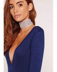 Missguided | Gray Wide Velvet Choker Necklace Grey | Lyst