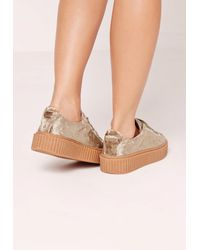 Missguided - Multicolor Crushed Velvet Lace Up Flatforms Nude - Lyst