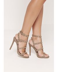 50f8ed93093 Lyst - Missguided Dome Studded Gladiator Heels Brown in Brown