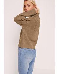 Missguided - Roll Neck Crop Jumper Brown - Lyst