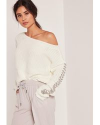 Missguided   White Off The Shoulder Lace Up Cropped Sweater   Lyst