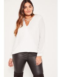 Missguided - Plus Size White Harness Detail Blouse - Lyst