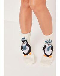 452aba70aedc73 Lyst - Missguided Penguin Gift Socks White in White