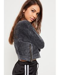 Missguided - Petite Black Zip Side Sweater - Lyst