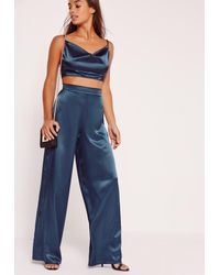 Missguided | Petite Exclusive Blue Satin Wide Leg Trousers | Lyst