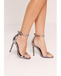 Missguided | Silver Metallic Rounded Strap Barely There Heels | Lyst