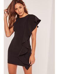Missguided | Black Frill Shoulder Mini Dress | Lyst