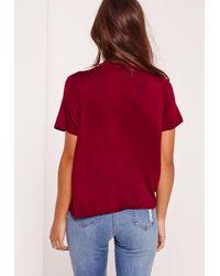 Missguided - Multicolor Choker Neck T Shirt Burgundy - Lyst