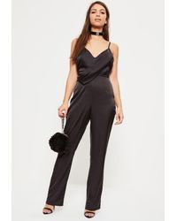 Missguided | Black Strappy Satin Wrap Jumpsuit | Lyst
