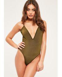 Missguided - Petite Green Plunge Neckline Strappy Bodysuit - Lyst