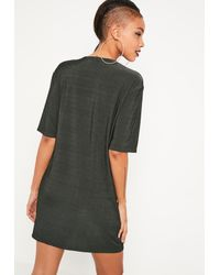 Missguided - Green Cowl Neck T-shirt Dress - Lyst