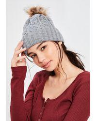 Missguided | Gray Grey Cable Knit Pom Pom Beanie | Lyst