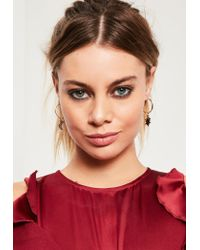 Missguided | Metallic Gold 3 Pack Diamante Charm Earrings | Lyst