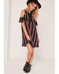 Missguided | Multicolor Collar Multi Stripe Ruffle Shift Dress | Lyst