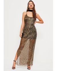 Missguided | Multicolor Bronze Gold Foil Pleat Maxi Dress | Lyst