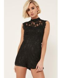 Missguided | Black High Neck Sleeveless Lace Romper | Lyst