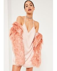 Missguided | Natural Nude Silky T Bar Slip Dress | Lyst