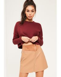 Missguided   Brown Tan Faux Leather Zip Detail A-line Skirt   Lyst