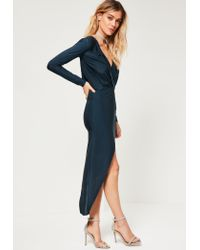 Missguided - Blue Navy Long Sleeve Wrap Dress - Lyst