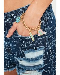 Missguided | Metallic Gold Babe Power Charm Bracelet | Lyst