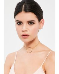 Missguided - Metallic Gold Circle Chain Choker Necklace - Lyst