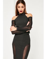 Missguided | Black High Neck Mesh Sleeve Bandage Crop Top | Lyst