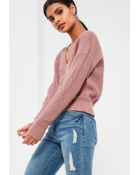 Missguided | Pink Cropped Tennis Sweater | Lyst