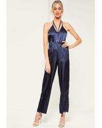 Missguided | Blue Petite Exclusive Navy Halter Neck Satin Jumpsuit | Lyst