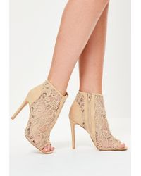 Missguided | Natural Nude Lace Peep Toe Heeled Ankle Boots | Lyst