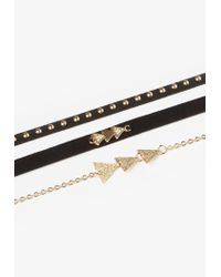 Missguided | Metallic Gold Simple Three Pack Chokers | Lyst