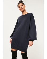 Missguided | Blue Balloon Sleeve Sweater Dress | Lyst