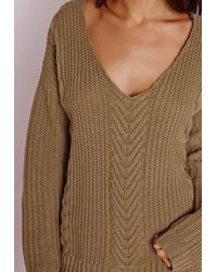 Missguided - Natural V Neck Cable Sweater Khaki - Lyst