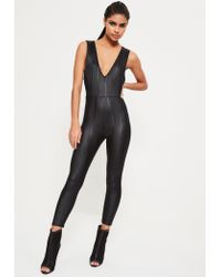 Missguided | Black Shine Bandage Sleeveless Skinny Jumpsuit | Lyst