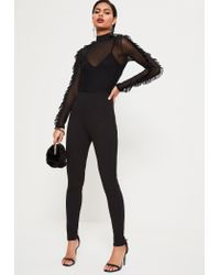 Missguided | Black Mesh Top Frill Sleeve Jumpsuit | Lyst