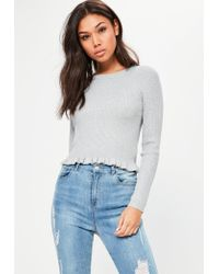 Missguided | Gray Grey Ribbed Frill Cropped Jumper | Lyst