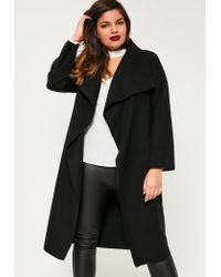 0460579348d Lyst - Missguided Plus Size Black Waterfall Oversized Duster Coat in ...