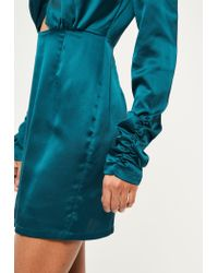 Missguided - Blue Silky Wrap Ruched Sleeve Bodycon Dress - Lyst