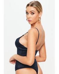 Missguided - Blue Navy Harness Detail Lace Bodysuit - Lyst