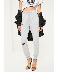 Missguided Gray Grey Distressed Ripped Joggers