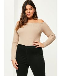 Missguided | Natural Plus Size Camel Ribbed Bardot Knitted Bodysuit | Lyst