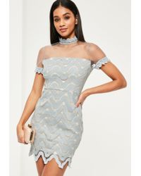 Missguided | Gray Grey Crepe Mesh Short Sleeve Bodycon Dress | Lyst