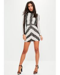 Missguided | Black Lace High Neck Bodycon Dress | Lyst
