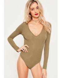 Missguided | Natural Khaki V Neck Ribbed Bodysuit | Lyst