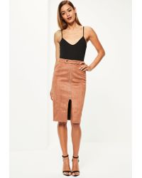 Missguided   Brown Faux Suede Tab Detail Zip Front Midi Skirt   Lyst